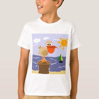 Pelican at the Beach Art T-Shirt
