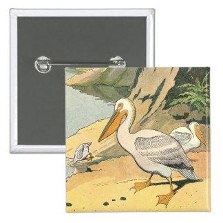 Pelican at the Sea Shore 15 Cm Square Badge