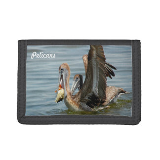 Pelican catching a fish Wallet