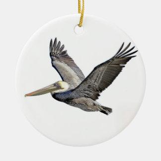 Pelican Clear Round Ceramic Decoration