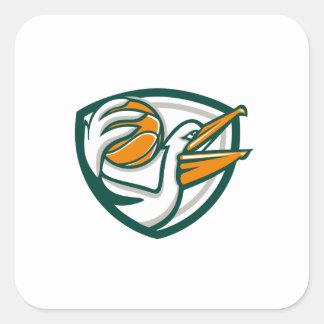 Pelican Dunking Basketball Crest Retro Square Sticker