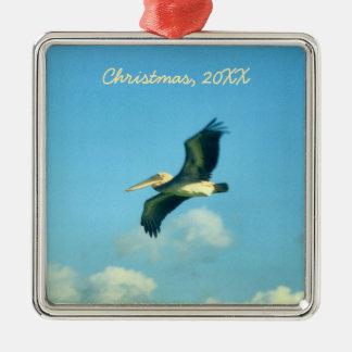 Pelican Flight Silver-Colored Square Decoration
