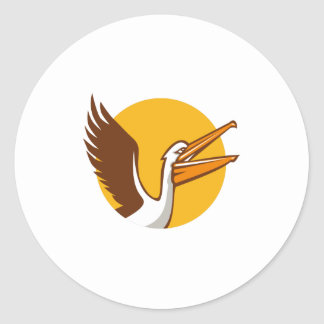 Pelican Flying Up Circle Retro Round Sticker