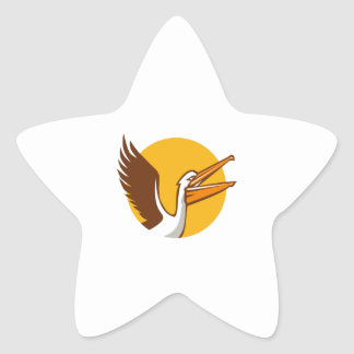Pelican Flying Up Circle Retro Star Sticker