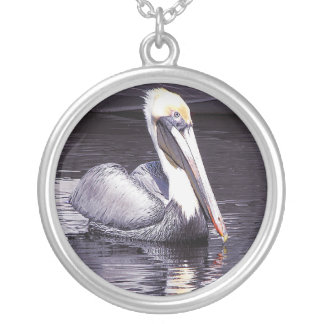 Pelican Gliding Along Silver Plated Necklace