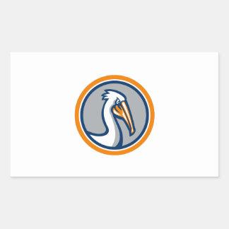 Pelican Head Circle Retro Rectangular Sticker