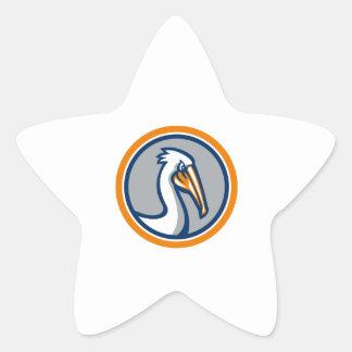 Pelican Head Circle Retro Star Sticker