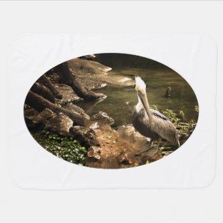pelican head turned sepia tinted on stonew  turtle pramblanket