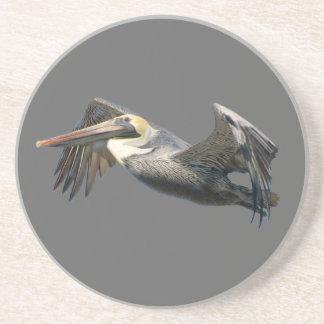 Pelican in Flight Beverage Coasters
