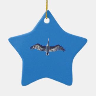 Pelican In Flight Christmas Ornament