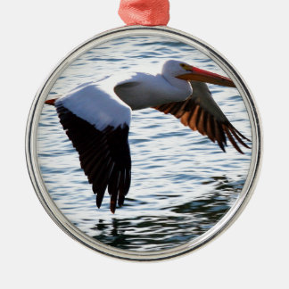 Pelican in Flight Christmas Ornaments