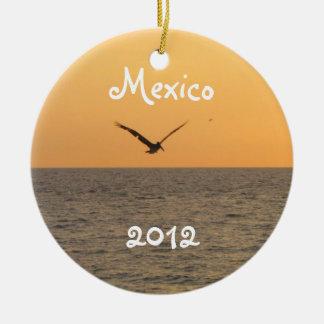 Pelican in Flight; Mexico Souvenir Round Ceramic Decoration
