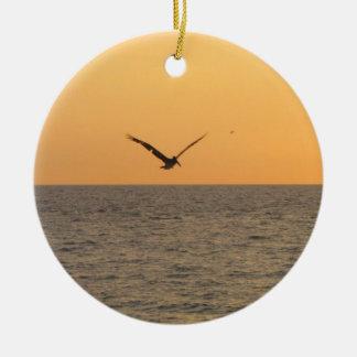 Pelican in Flight; No Greeting Round Ceramic Decoration