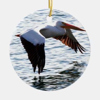 Pelican in Flight Round Ceramic Decoration