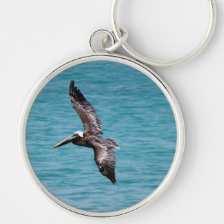 Pelican in flight Silver-Colored round key ring