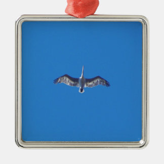 Pelican In Flight Silver-Colored Square Decoration