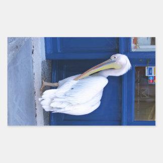 Pelican in Greece Rectangular Sticker