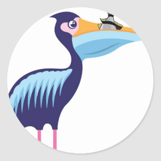 Pelican Isolated with Fish Round Sticker