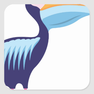 Pelican Isolated with Fish Square Sticker