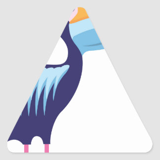 Pelican Isolated with Fish Triangle Sticker