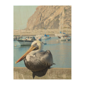 Pelican & Morro Rock Wood Canvas