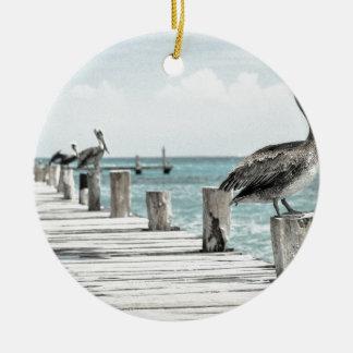 Pelican on Pier Christmas Ornament