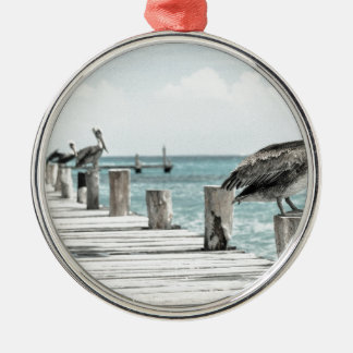 Pelican on Pier Silver-Colored Round Decoration