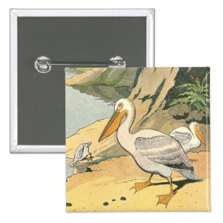 Pelican on the Beach Pinback Buttons