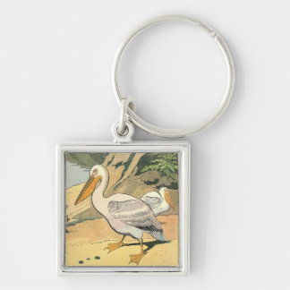 Pelican on the Beach Silver-Colored Square Key Ring