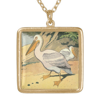 Pelican on the Beach Square Pendant Necklace