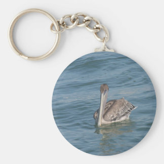 Pelican on the Inter-Coastal Basic Round Button Key Ring