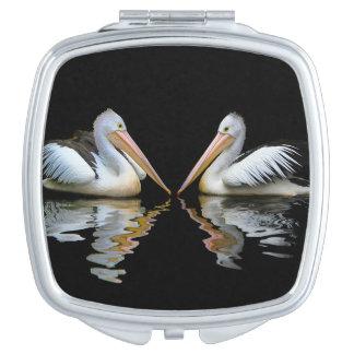PELICAN PAIR (Australian pelican) ~ Travel Mirrors