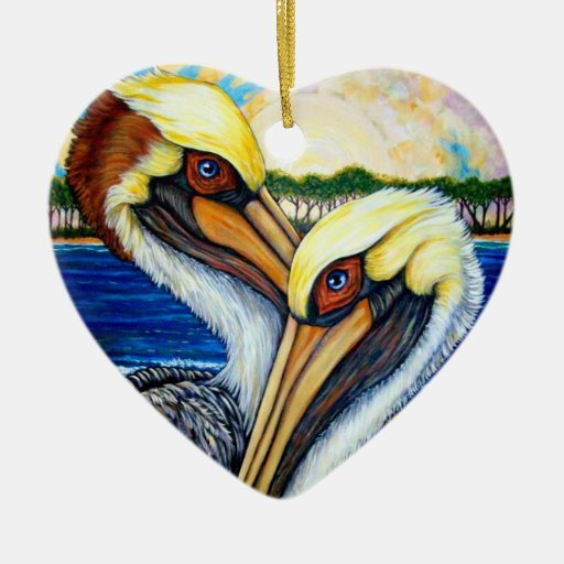 Pelican Pair Christmas Tree Ornament