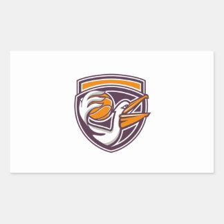 Pelican Passing Basketball Shield Retro Rectangular Sticker