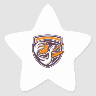 Pelican Passing Basketball Shield Retro Star Sticker
