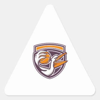 Pelican Passing Basketball Shield Retro Triangle Sticker
