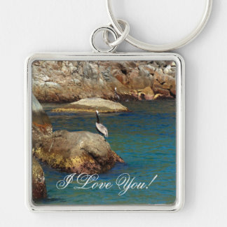 Pelican Perch; Sweet Nothings Silver-Colored Square Key Ring