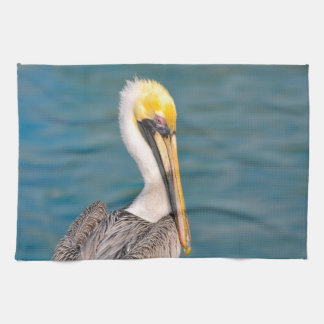 Pelican Portrait Close Up with Ocean in Background Tea Towel