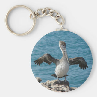Pelican preening basic round button key ring