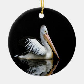 pelican sea birds enjoy peace in dark round ceramic decoration