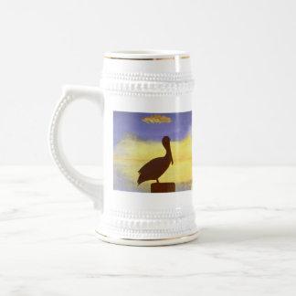 Pelican Silhouette Tropical Design Stein Mug