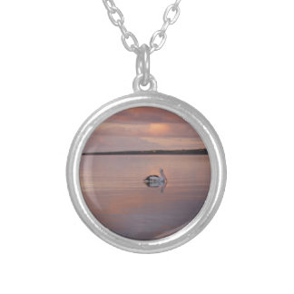 pelican sunset at Doctor's Beach South Australia Silver Plated Necklace