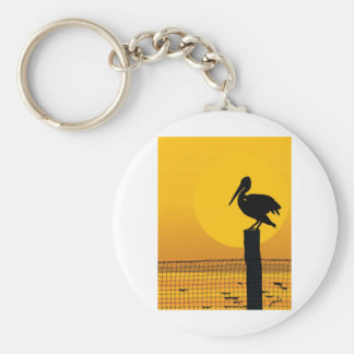 Pelican Sunset Basic Round Button Key Ring