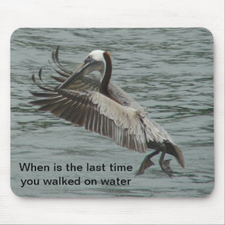 Pelican walking on water mouse pad