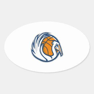 Pelican Wings Basketball Retro Oval Sticker