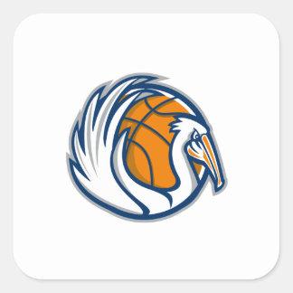 Pelican Wings Basketball Retro Square Sticker