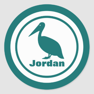 Pelican with Name Round Sticker