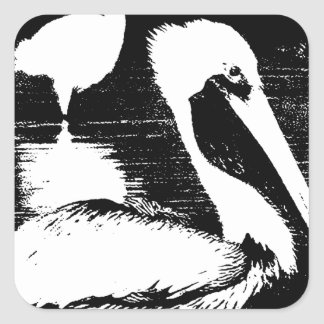 Pelican with Snowy Egret Black White Graphic Stickers