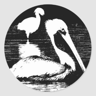 Pelican with Snowy Egret Black & White Graphic Sticker