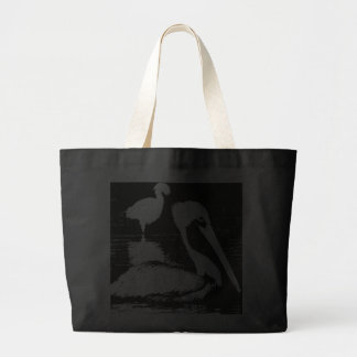 Pelican with Snowy Egret Black & White Graphic Jumbo Tote Bag
